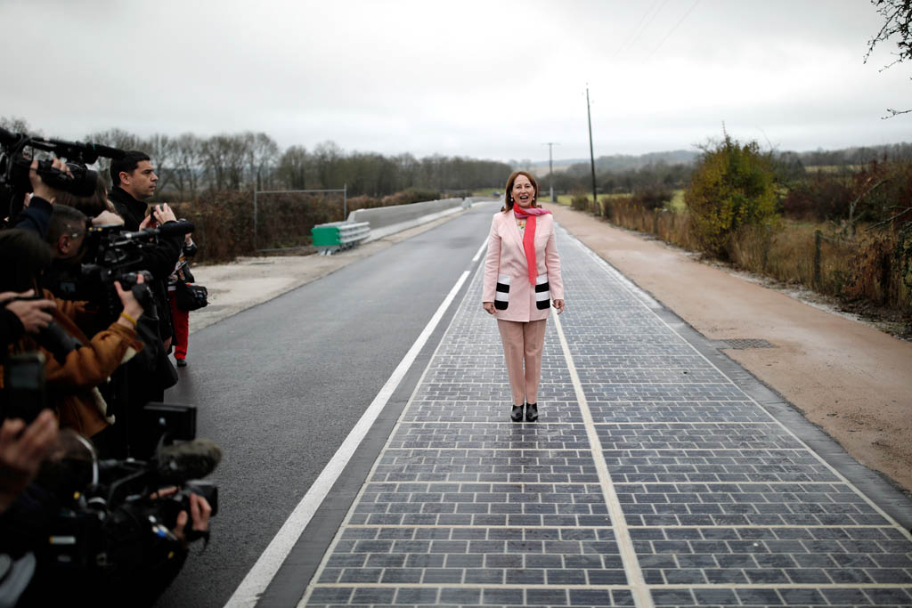 French Minister for Ecology, Sustainable Development and Energy Segolene Royal attends the inauguration of a solar panel road in Tourouvre