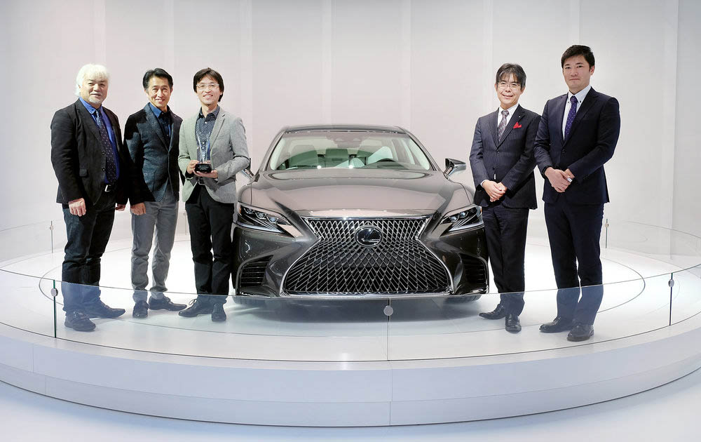 The EyesOn Design Award for Design Excellence - Best Designed Interior went to the 2018 model-year Lexus LS sedan at the North American International Auto Show on Tuesday, January 10, 2017 in Detroit, MI. (L-R) Yo Hiruta, Lexus Design Div. General Manager, Kouichi Suga, Project General Manager - Lexus Design Div., Kei Yamamoto, Lexus Design div. Group Manager, Toshio Asahi, Product Planning - Chief Engineer, Kenji Ohtsuka, Lexus Int.Co. Product Planning, Project Manager